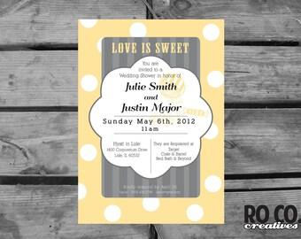 Love Is Sweet Polka Dot Gray and Yellow Printable Bridal Shower Invitation