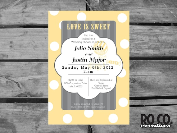 Love Is Sweet Polka Dot Gray and Yellow Printable Bridal Shower Invitation