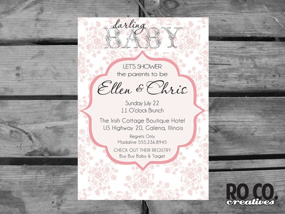 Items Similar To Vintage Themed Pink Rose Printable Baby Shower Invitation On Etsy