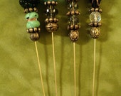 4 HATPINS stick hat  pin  WHOLESALE handmade antique beads group 4