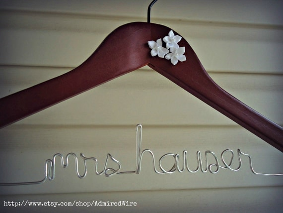 Flower Embellished Custom Bridal Dress Hanger