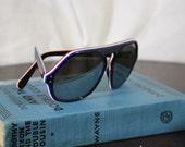 1970's red white n blue mirrored geometric sunglasses vintage eyewear