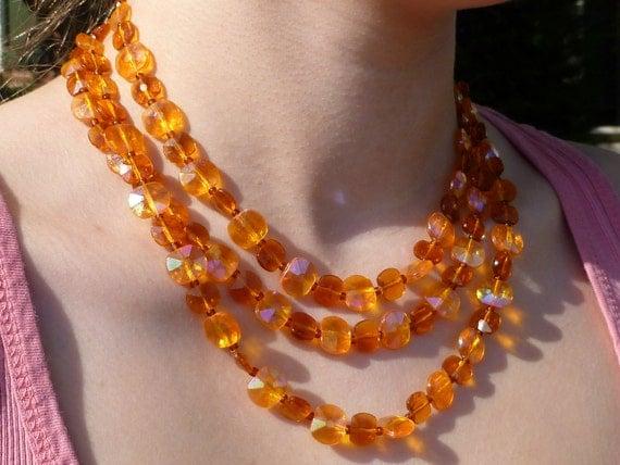 Beaded 3 Strand Orange Dreamsicle Iridescent Necklace