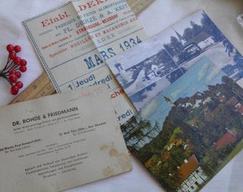 Set of German Postcards with Additional Ephemera - Vintage