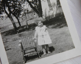 Child with Her Rocking Chair Photograph Outdoors