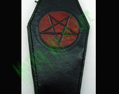 Leather Wallet coffin biker style with pentagram