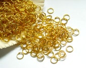 50/100 Gold Plated Jump Rings 6mm, Open Loop - 8-4