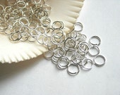 100 Silver Plated Jump Rings 6mm, Open Loop - 7-4