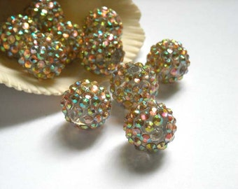 5 Clear Disco Ball Beads With AB Crystals - 26-5