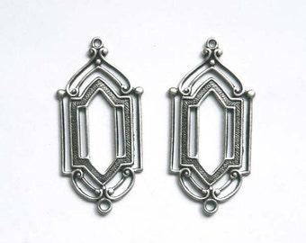 2 Vintage Deco Silver Connectors - 1-24