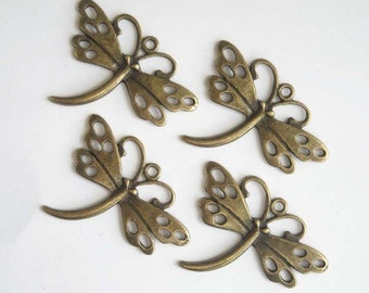 4 Antique Bronze Dragonfly Charms - 21-28-5