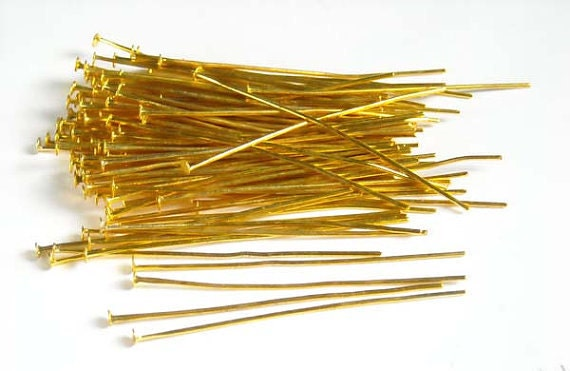 100 Gold Plated Head Pins