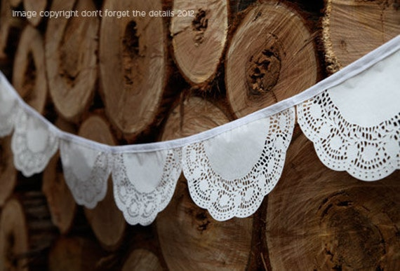 "paper doily bunting - great for a ""Vintage"" look"