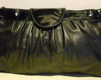 Gorgeous vintage black leather clutch , evening bag with patent leather side