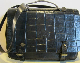 Great  Italian vintage black leather business bag, small briefcase
