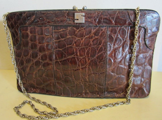 Fabulous vintage crocodile skin leather clutch or sling