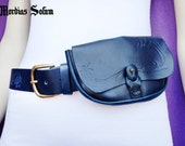 Blue leather belt with purse