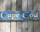 Lg Rustic CAPE COD - Carved Sign - Coastal Wall Art
