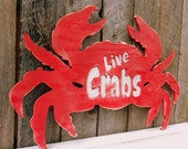 Cut-out Wooden CRAB Silhouette -SIGN LARGE Red-Vintage Inspired