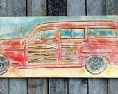 Large BEACH WOODY Wall Art V-CARVED - Plywood Surf Adventure