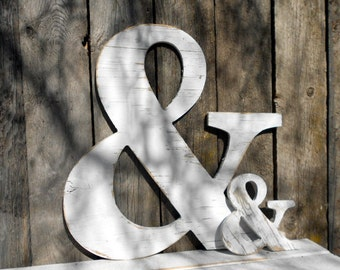 "TWO ""Ampersand"" Signs -Wall Art-Wooden Empersand Wedding Farmhouse"