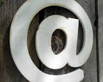 "White ""AT"" Sign lndustrial Wall Art Arobase @ Wooden"