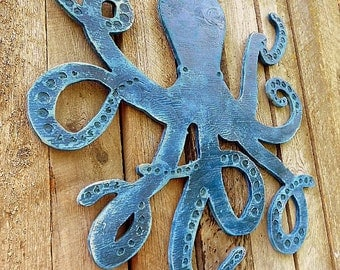 Large BLUE OCTOPUS Cut-out Wooden Silhouette -SIGN