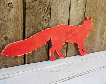 Large Cut-out Red FOX -Wall Art- DISTRESSED Wood Silhouette Sign