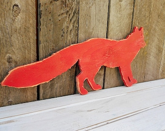 Large Cut-out Red FOX -Wall Art- DISTRESSED Wood Silhouette Sign Chase Hunt