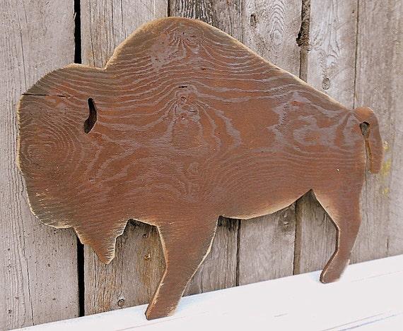 Large Cut Out BUFFALO Wood Wall Art, Wooden Silhouette Western Rustic Distress