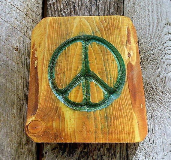 PEACE Sign -FREE SHIPPING- V-Carved - Rustic Wood