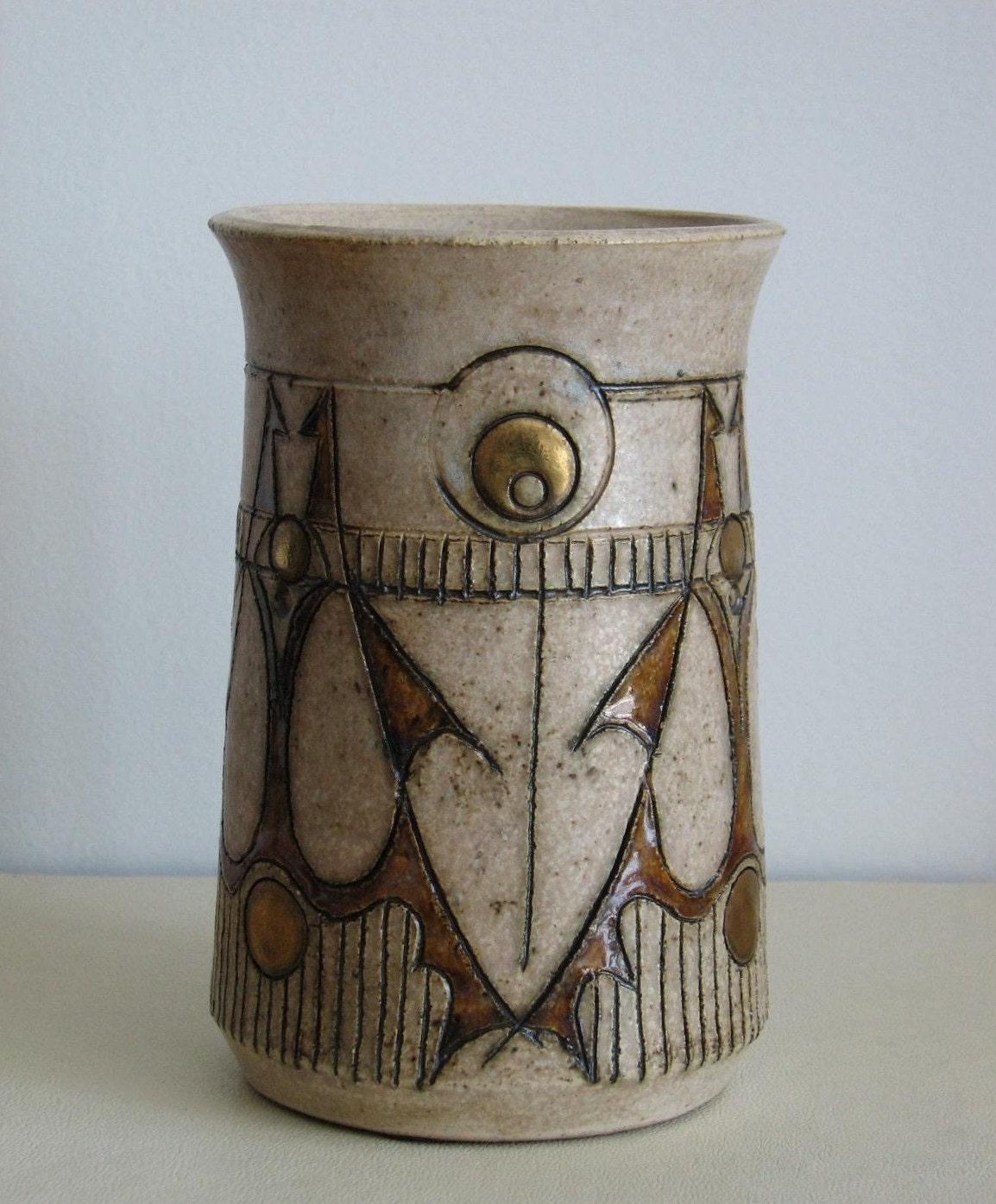 Arts and crafts style pottery vase with gold dots by aswirgon for Arts and crafts vases pottery