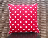 Decorative Red with White Polka Dot Handmade PIllow Cover 18 x 18 Inches Large Dots on Lipstick