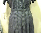 Vintage Korell plus-sized plaid day dress, 1950s or early 1960s