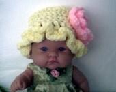 Yellow Sun Hat (0-3 mo) Hand Crocheted By ReadyMade4U