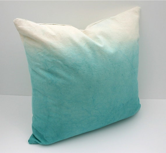 "Teal Ombre Throw Pillow Cover // 20inch square, 20""x20"" Natural Cotton Canvas Throw Pillow Hand Dyed with Ombre Effect"