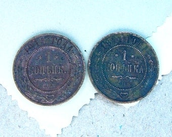 Two Old Russian COIN antique copper - 1 kopeck - CV19