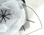 Black and White Delicate Fairy Flower Bangle - Cuff  Bracelet