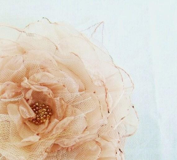 Weddings Hair Accessories Golden Champagne Bridal Organza Flower Fairytale Flower MEDIUM LARGE Bridal Hair Accessory  Clip - Corsage -