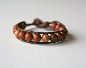 brown bead and leather wrap bracelet