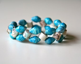 double strand turquoise and cream print paper bead stretch bracelet