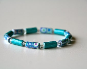 turquoise and purple flower print paper bead stretch bracelet