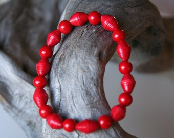 Red Paper Bead Stretch Bracelet