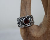 RESERVED for Barb Sterling Silver Garnet Ring, Size 9 1/2