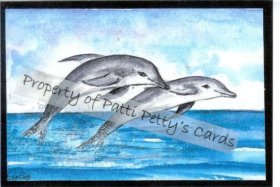 Dolphins swimming water ocean sea blue watercolor print card (item WL2)