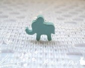 10% Off Sale: Sterling Silver Pastel Colored Elephant Necklace
