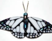 Medium White Fused Glass Monarch Butterfly (Item: 10003)