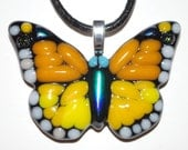 Yellow Fused Glass Monarch Butterfly Pendant (Item: 10008)