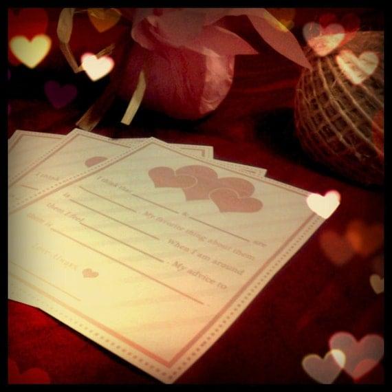 PDF printable madlibs love libs wedding bridal favor personalized custom fun game keepsake