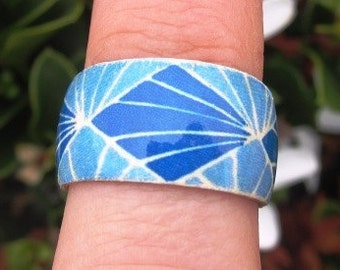 Sonia Delaunay (Blue Diamonds) - adjustable wood ring